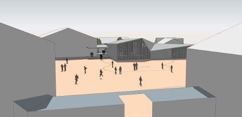 FÅR NYBYGG: Hvis alt går på skiner, er det planlagte nybygget på 450 kvadratmeter (i midten på tegningen i tilknytning til gymbygget til venstre) på Gressvik ungdomsskole ferdig høsten 2019.
