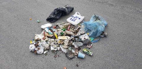 UØNSKET FANGST: I løpet  av noen minutter ble en søppelsekk fylt av avfall fra ting som er kommet fra forbipasserende biler.