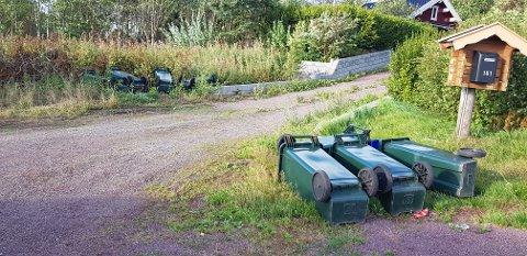 FLATBLÅST: Alle søppelkassene til denne eiendommen i Hellandveien ble feid av bakken.