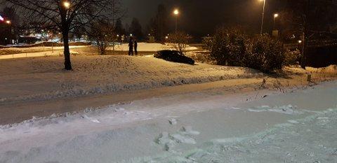 UPS: Denne bilen havnet godt utenfor veien en drøy halvtime før midnatt fredag.