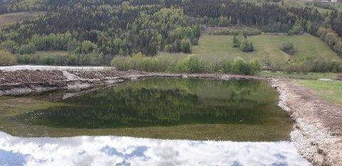 Ein del av Rudivollen, tidlegare flaumskogmark der Frya renn ut i Laugen.
