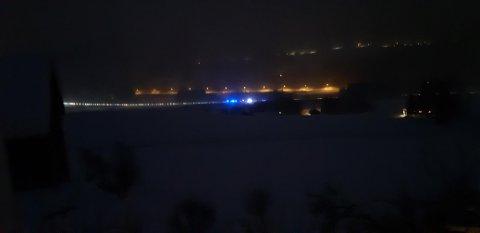Kø på Hovlandsmyra på Roa etter trafikkulykken.