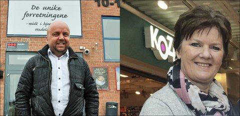 STÅR PÅ: Senterlederne Tor Ole Karlsen og Kari Morka forteller at butikkene står på for å gi kundene et tilbud.