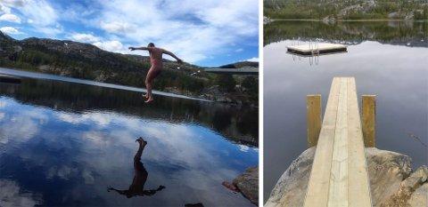 KASTET KLÆRNE: Ronny Nilsen kastet klærne og tok et morgenbad fra det nye stupebrettet ved Gakorivann.