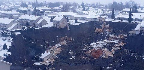 GJERDRUM:Oversiktsbilde fra rasområdet i Ask i Gjerdrum kommune. Foto: Jaran Wasrud/NVE / NTB