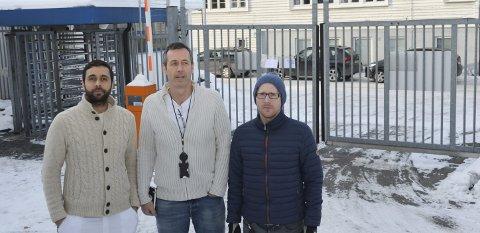 Bekymret: – Det er tragisk for dem som må ut porten, sier de tillitsvalgte ved TPI. F.v.: Karl Ivar Magnussen (IE), Steffen Kråkenes (FLT) og Lars-Christian Eia Guttormsen (NITO).