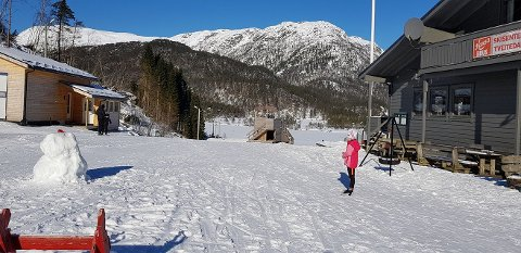 Slik såg det ut i Tveitedalen tysdag føremiddag. Freistar det ikkje med ein skitur? (Foto: Julie Holmedal Askeland).