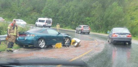 Personbilen som var involvert i trafikkulykken.