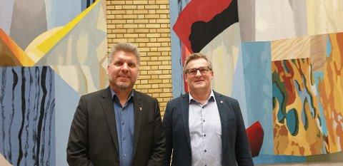SVEKKELSE: Marius Meisfjord Jøsevold (t.v., SV) og Dagfinn Olsen (Frp) er enige om at nedleggelse av Kystverkets beredskapskontor i Kabelvåg er uheldig for beredskapen i nord. Foto: Privat