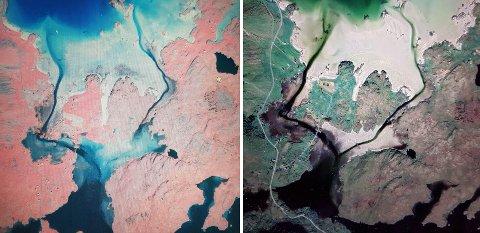 Bildet til venstre er et infrarødt flyfoto er fra 1985, altså før Nesjestraumen ble gravd opp for å gi passasje til vikingskipet. Bildet til høyre er hentet fra  Google Earth i 2019. - Merk blant annet endringer i bunntopografien ved utløpet av Nesjestraumen og inn i Lauvåspollen,sier professor Helland Hansen.