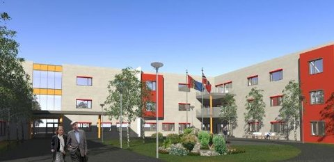 Dette er illustrasjonen av det nye helsehuset i Tromsø