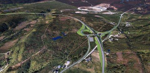 STØRRE INNGREP: Nye E8 vil medføre et større inngrep enn varslet; i et automatisk fredet system av gamle fangstgroper på Ramfjordmoen, mener Sametinget. Illustrasjon: Statens vegvesen