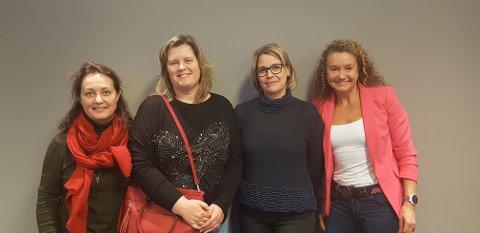 Anne Vifladt (fra venstre), Linda Stigen, Hege Kletthagen, og Ine Wigernæs ved Institutt for helsevitenskap ved NTNU i Gjøvik er blant 30 ansatte ved Fakultet for medisin og helsevitenskap som nå skolerer seg for å bli bedre veiledere av nye ph.d.-stipendiater.