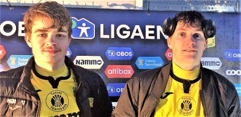 SUKSESSDUO: Oskar Johannes Løken scoret mål og fikk straffe etter at han erstattet Filip Brattbakk, som tidligere hadde scoret ett av de fem raufoss-målene.