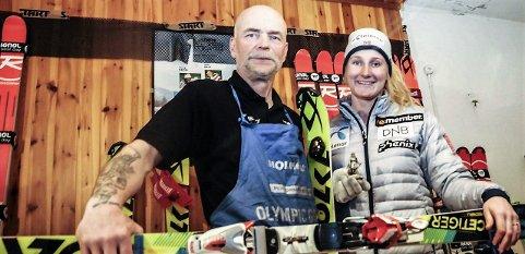 TRIST: Maren Skjøld hadde et spesielt godt forhold til sin servicemann og sin venn Tor Arvid Holtermann Semb. Her fra servicerommet under verdenscuprennet i Crans Montana i 2016.
