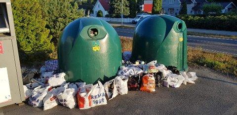 SLUTT PÅ DETTE: Den nye ordningen for avfall av metall og glass vil sørge for at det blir slutt på situasjoner med overfylte samlingssteder. Foto: Privat