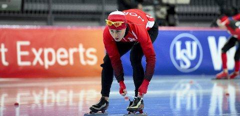 HØYERE TEMPO: Ole Bjørnsmoen Næss matcher de fleste på utholdenheten, men må bli hurtigere for å nærme seg verdenstoppen på de lengste skøytedistansene.