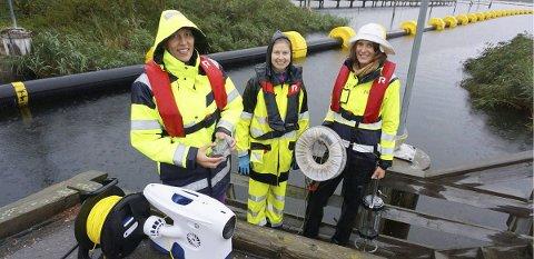 FILMER: Mari Moseid og teamet hennes fra NGI filmer bunnforholdene i Gunneklevfjorden.