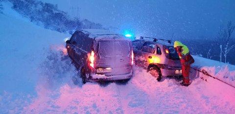 Kjørte inn i raset: André Fredriksen kjørte den ene av de to bilene som kjørte rett inn i snøraset på E10.