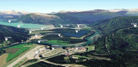 Midt i bildet litt til høyre, ser Freyr AS for seg hvor den fremtidige fabrikken kan ligge på Langvassheia. Illustrasjon: Norconsult