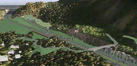 Slik kan det bli ved Hvalpåsen på E16 når ny vei blir bygd. I byggeperioden kan trafikken til Hallingdal og Valdres bli sendt utenom Hole og Ringerike.