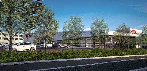 NY BUTIKK: Meny skal etter planene etableres på Åråsen i Lillestrøm. Dermed blir det to store matbutikker i området. Skisse: Meinich Arkitekter AS