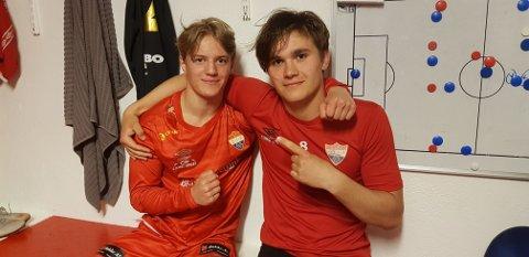 MÅLSCORERE: Christian Eide (t.v.) scoret én gang, mens Benjamin Furberg noterte seg for to fulltreffere da Sørumsand banket Eidsvold Turn-rekruttene 3-0.