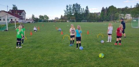 FOTBALLJENTER: Jenter 9 -laget  på banen i Bødalen.