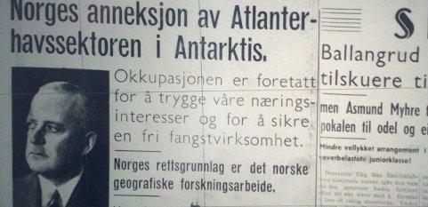 Sandefjords Blad 16. januar 1939: Norges «okkupasjon» i Antarktis skyldtes hvalfangsten i området. Faksimile