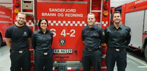 DRØMMEN: Det var drømmen til (fra venstre) Fredrik Hognestad, Josephine Ponce de Lange, Stian Lyngås og Kenneth Hvaara-Wroldsen å jobbe i brannvesenet.