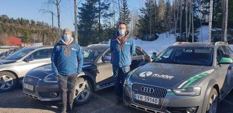 USIKRE: Magnar Løberg (til høyre) og Jon Arild Berulfsen var usikre, men satser på å kjøre som normalt framover.