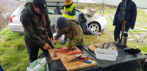 Kenneth Monsen instruere i filettering av ørret.