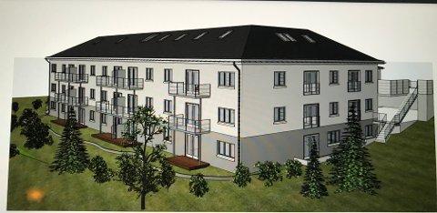 Dette er illustrasjonen som viser hvordan tiltakshaver ønsker å få plass til 21 leiligheter i Løktabakken 11.