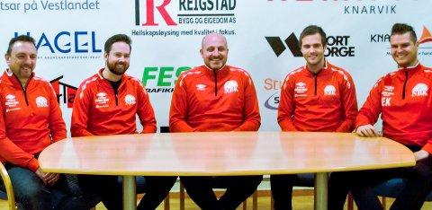 Det nye trenarteamet: Frå venstre: Rune Sætre (trenar), Jørgen Andrè Larsen (trenar), Bent-Inge Sellevold (hovudtrenar), Sindre Flaa (trenar) og Espen Kjenes (trenar). Nordhordland Ballklubb er den lokale klubben som har endra mest sidan fjorårssesongen.