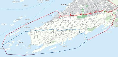 Rød linje viser planavgrensning for kommunedelplan for ny bydel, og blå linje områderegulering av ny lufthavn. Skisse: Bodø kommune