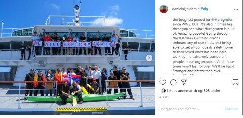 STEMTE IKKE: Ingen korona om bord på noen av skipene, meldte konsernsjef Daniel Skjeldam i april. Nå er det kjent at Hurtigruten hadde flere tilfeller i denne perioden - både blant passasjerer og ansatte.