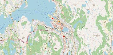 Slik ser det ut klokken 0030 natt til søndag. Skjermdump: Luftkvalitet.info