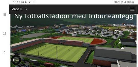 45 MILL: Då Førde IL la fram skissene til Norconsult for Nye Førde Stadion, ein kombinert fotball- og friidrettsstadion på dagens baner ved Førdehuset, vart han grovt kalkulert til ca 45 mill, skriv artikkelforfattaren.