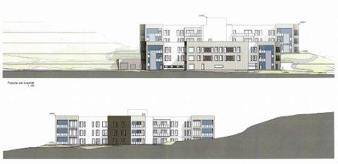 RYKKER NÆRMERE: Denne tegningen for Onsøyheimen viser hvordan de ulike byggene med trappetårnet vil bli liggende i terrenget. Midtpartiet vil bli på fem etasjer, mens sidefløyene er på tre etasjer. Tegning: ASAS Arkitektur