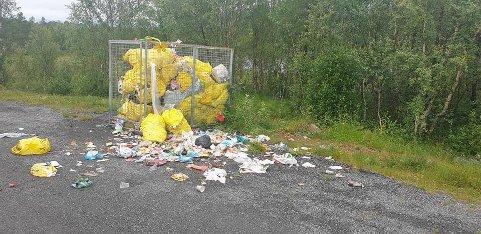 SØPPEL: Slik ser det ut på avfallspunktet ved avkjøringen til Strandenes, noen kilometer før Skarstad.