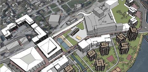 Slik kan Ålgård sentrum bli seende ut i framtida. Skisse: CF Møller.