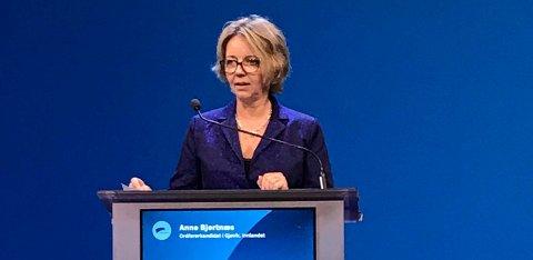 UNGE SYKE: Anne Bjertnæs vil ha bedre samhandling mellom aktørene i hjelpeapparatet På lansmøtet fortalte hun om unge psykisk syke fra Vestoppland.