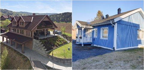 MILLIONVILLA: Teglsteinshuset i Nordre Oppdalen ligger med en prisantydning på 15 millioner kroner. Det blå huset blir hentet i juli.