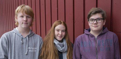 Til Topps:Torstein Wathne, Kristoffer Andre Holsen og Emilie Viveli Tveit ved Lægreid skule i Eidfjord.Foto: Tale Hauso/NRK
