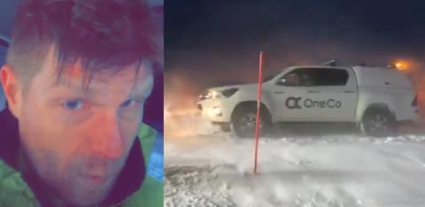 SIDESPOR: Stian A. Kristiansen kom seg ikke på jobb i Honningsvåg på grunn av forholdene på veiene på Nordkyn.