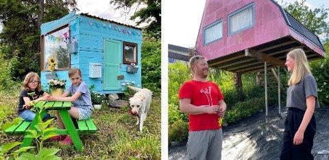 GJENBRUKSHYTTER: Søstrene Solveig og Aurora Størseth Johansen elsker den hjemmesnekra turkise hagehytta si, mens Ragne Nilsen (12) er ferdiglekt i den rosa hytta pappa Rudi laget for noen år siden.