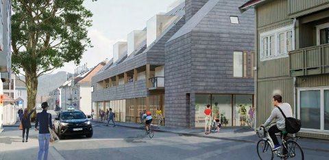 GATEBILDE: Slik ser arkitekten for seg nybygget sett fra Myntgata.