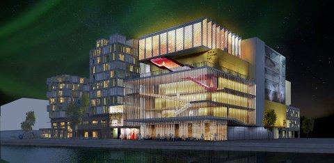 PÅ TEGNEBRETTET: Skisse av det nye konserthuset ved sjøen i Tromsø, i området ved tidligere Mack Bryggeri.