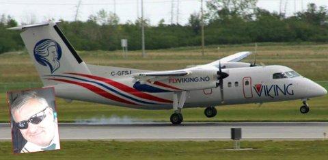 FÅR SELSKAP: Den første FlyViking-maskinen er klar. Nå drar Ola O.K. Giæver til Calgary i Canada for å skrive avtale for enda flere fly. Foto: Privat