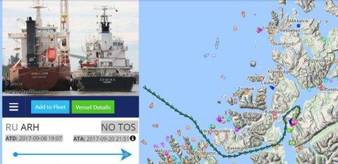 MÅTTE INN TIL TROMSØ: Det russiske lasteskipet Tiksy, her til venstre mens det var nederlandsk-eid, skulle til Egypt, men måtte gå med to knop inn til Tromsø etter at turboen røyk. Illustrasjon: marinetraffic.com